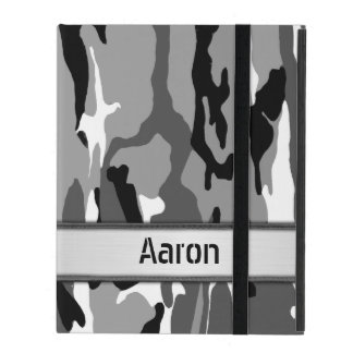 Arctic Snow Camo Name Template iPad Cover