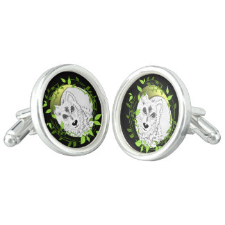 Arctic White Wolves Wild Animal Design Cuff Links