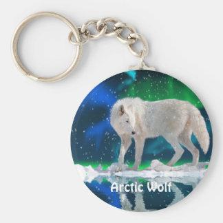 ARCTIC WOLF & Aurora Zipper Pull\Keychain Basic Round Button Key Ring