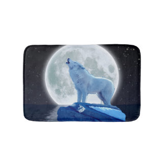 Arctic Wolf Howling at a Winter Moon Bath Mat