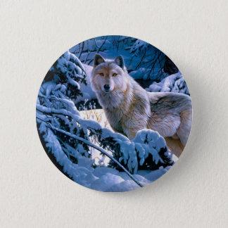 Arctic wolf - white wolf - wolf art 6 cm round badge