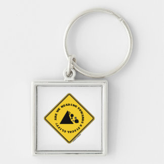 Are We Heading Towards A Fiscal Cliff? (Econ Sign) Silver-Colored Square Key Ring