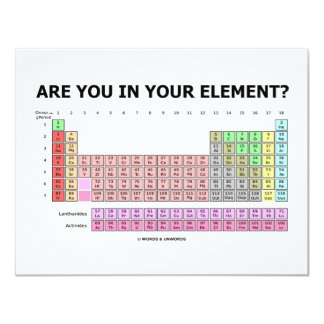 Are You In Your Element? (Periodic Table Humor) 11 Cm X 14 Cm Invitation Card