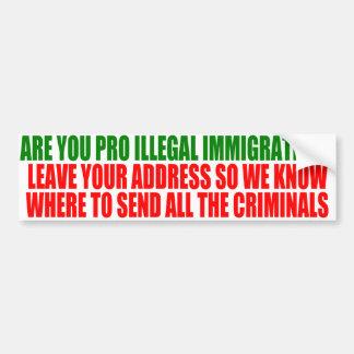 Are you Pro-Illegal Immigration?  Bumper Sticker