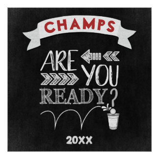 Are You Ready? Beer Pong Football Chalk Typography Poster