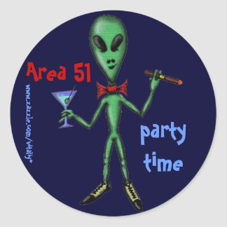 Area 51 funny party alien cartoon art sticker