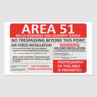 Area 51 Sign Rectangular Sticker