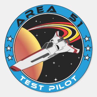 Area 51 Test Pilot Round Sticker