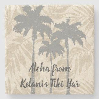 Areca Palms Hawaiian Tropical Vintage Coordinates Stone Coaster