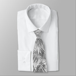 160f152d Areca Palms Hawaiian Tropical Vintage Gray Tie