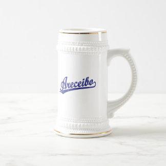 Areceibo script logo in blue beer steins