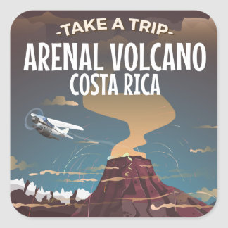 Arenal Volcano Costa Rica vintage cartoon poster Square Sticker