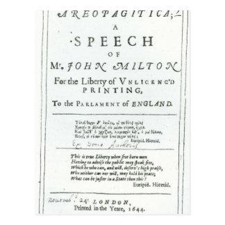 Areopagitica'  a speech of John Milton Postcard