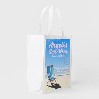 argelès-sur-mer France travel poster Reusable Grocery Bag