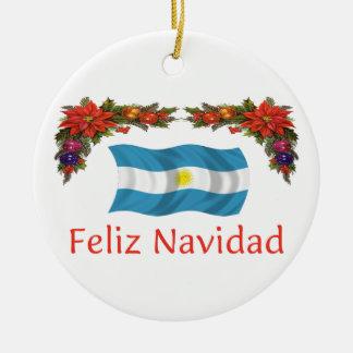 Argentina Christmas 2 sides Round Ceramic Decoration