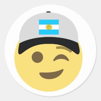 Argentina Emoji Baseball Hat Classic Round Sticker