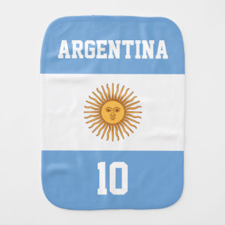 Argentina Flag with Your Baby Name and Number Baby Burp Cloths