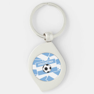 Argentina Football Flag Silver-Colored Swirl Metal Keychain