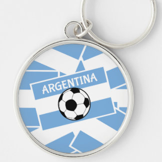 Argentina Football Flag Silver-Colored Round Key Ring
