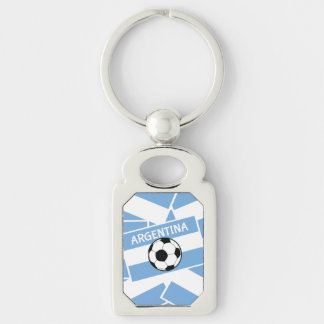 Argentina Football Silver-Colored Rectangular Metal Keychain