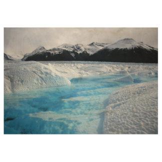 Argentina glacier patagonia mountains wood poster