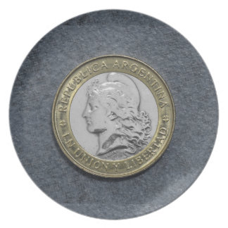 Argentina Gold Silver Coin Melamine Plate