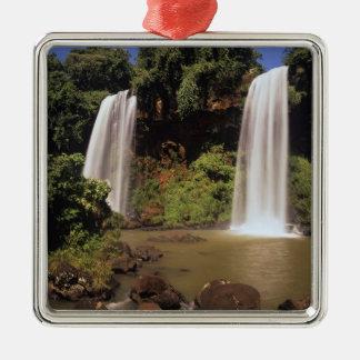 Argentina, Igwazu, Igwazu falls. Salto Dos Silver-Colored Square Decoration