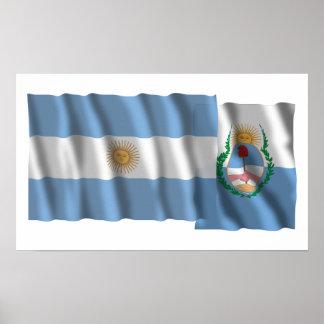 Argentina & Mendoza waving flags Poster