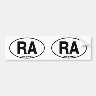 Argentina RA Oval Euro Style Identity Letters Bumper Sticker