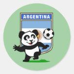 Argentina Soccer Panda Round Sticker