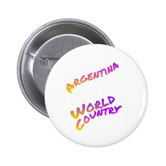 Argentina world country, colorful text art 6 cm round badge