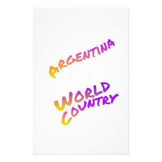 Argentina world country, colorful text art stationery