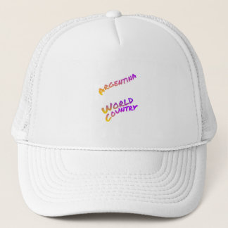 Argentina world country, colorful text art trucker hat