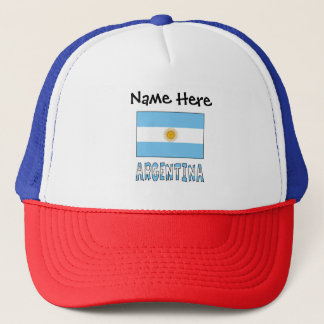 Argentine Flag and Argentina with Name Trucker Hat