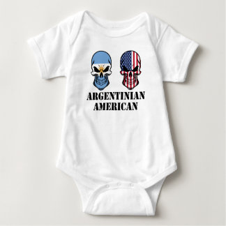 Argentinian American Flag Skulls Baby Bodysuit