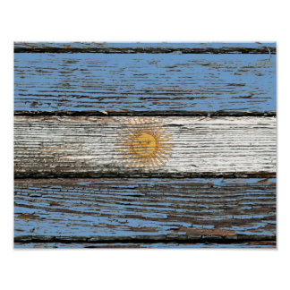 Argentinian Flag with Rough Wood Grain Effect Poster
