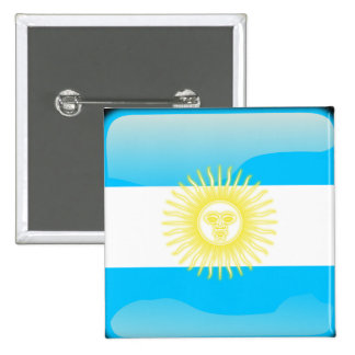 Argentinian glossy flag 15 cm square badge