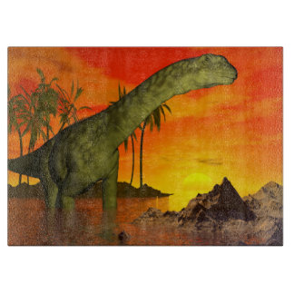 Argentinosaurus dinosaur by sunset - 3D render Cutting Board