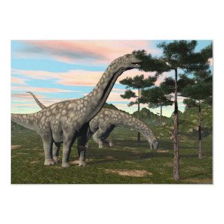 Argentinosaurus dinosaur eating tree - 3D render Card
