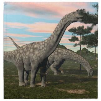 Argentinosaurus dinosaur eating tree - 3D render Napkin