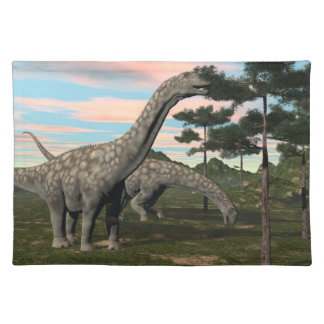 Argentinosaurus dinosaur eating tree - 3D render Placemat
