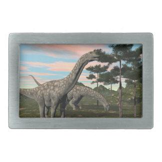 Argentinosaurus dinosaur eating tree - 3D render Rectangular Belt Buckles