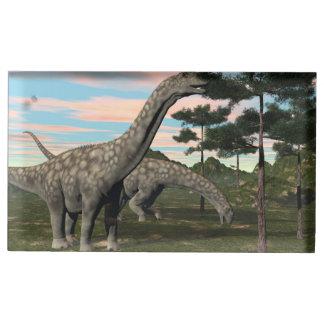 Argentinosaurus dinosaur eating tree - 3D render Table Number Holder