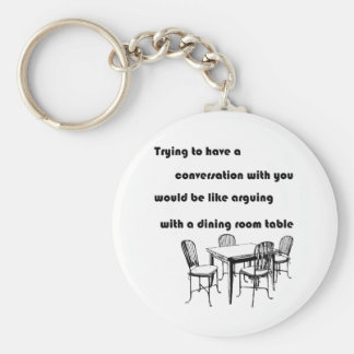 Arguing with a Dining Room Table Basic Round Button Key Ring