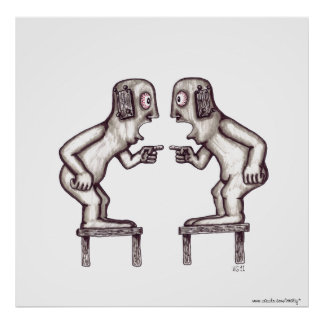 Argument surreal black and white drawing art poster