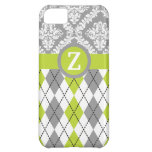 Argyle and damask pattern green, grey monogram iPhone 5C case