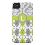 Argyle and damask pattern green, grey monogram iPhone 4 covers