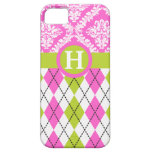 Argyle and damask pattern green, pink monogram