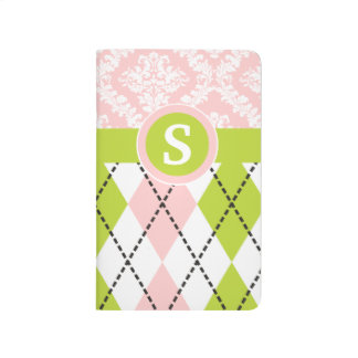 Argyle and damask pattern green, pink monogram journal