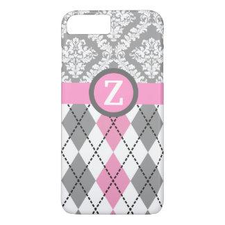 Argyle and damask pattern pink, grey monogram iPhone 8 plus/7 plus case
